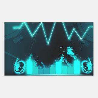 sound neon rectangular sticker