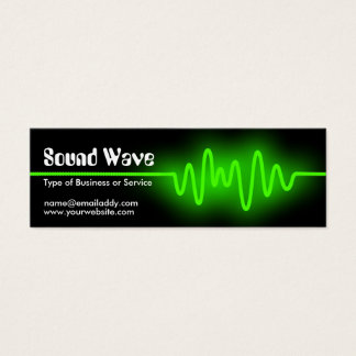 Sound Wave - Green and Black Mini Business Card