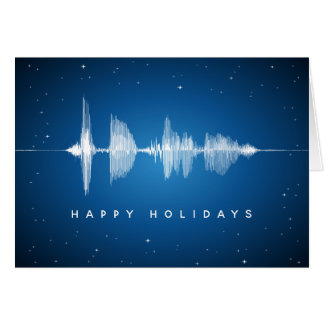 Sound Waveform Music Happy Holidays Geek Card