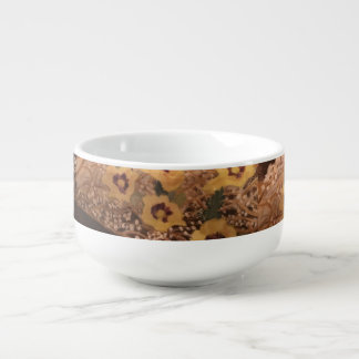Soup Bowl /Still Life Flowers with a log