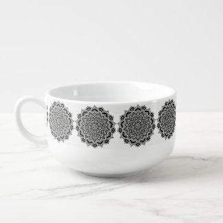 Soup Mug Black and White Mandala Pattern