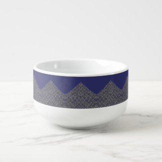 Soup Mug Blue Silver Design
