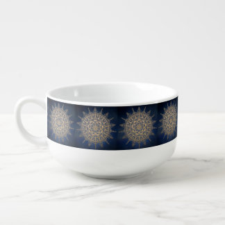 Soup Mug Golden Blue Pattern Design
