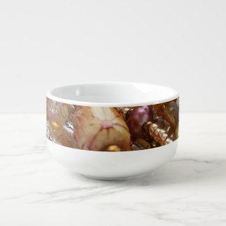 Soup Mug- Natural Earthtones, Bronze Beads Print Soup Mug