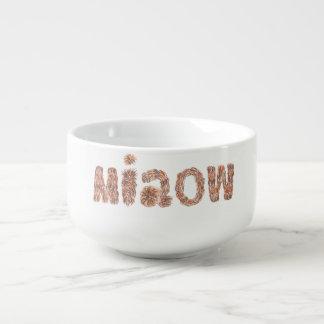 Soup mug with 'miaow'