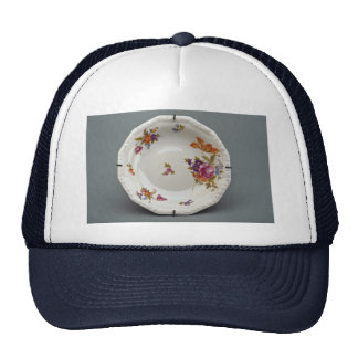 Soup plate with colorful flower designs trucker hat