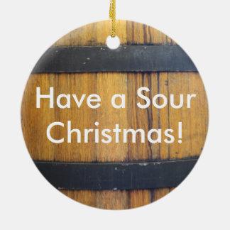 Sour Christmas Barrel Ceramic Ornament