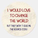 source code round sticker