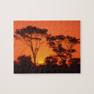 South Africa.  African sunset. Jigsaw Puzzle