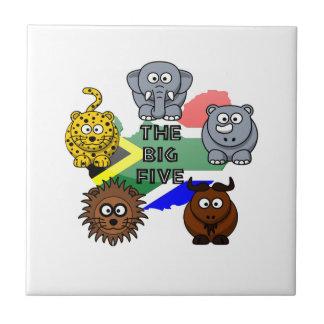 South Africa Big Five Cartoon Illustration Ceramic Tile