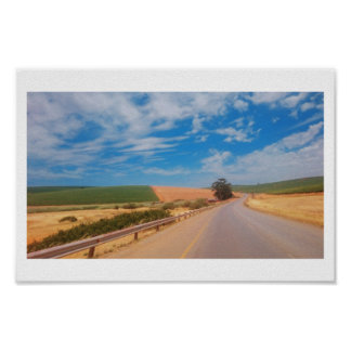 South Africa Countryside Road Sky Landscape Poster