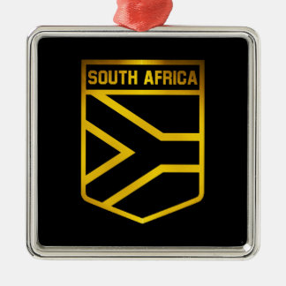 South Africa Emblem Silver-Colored Square Decoration