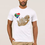 South Africa Flag Heart and Map T-Shirt
