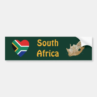 South Africa Flag Heart + Map Bumper Sticker
