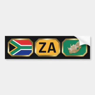 South Africa Flag Map Code Bumper Sticker