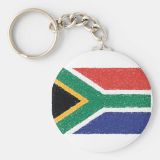 South Africa Flag Theme Basic Round Button Key Ring