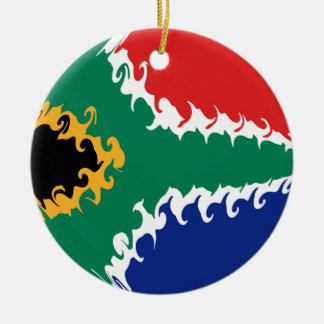 South Africa Gnarly Flag Round Ceramic Decoration
