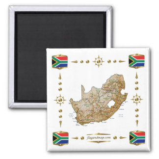 South Africa Map + Flags Magnet
