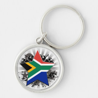 South Africa Star Silver-Colored Round Key Ring