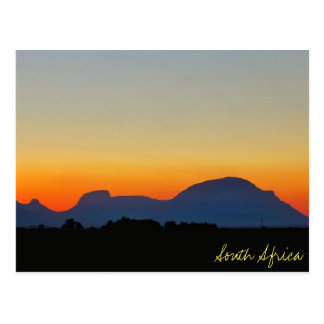 South Africa Sunset Mountains Postcard