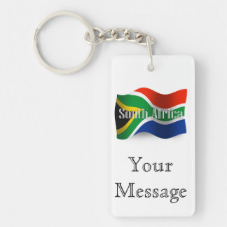 South Africa Waving Flag Double-Sided Rectangular Acrylic Key Ring