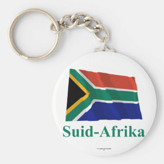 South Africa Waving Flag with Name in Afrikaans Keychains