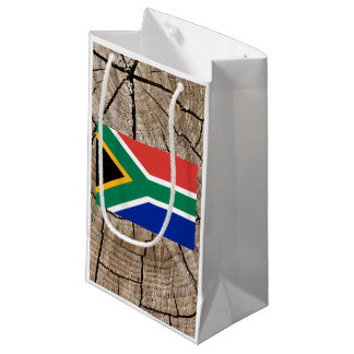 South African flag on tree bark Small Gift Bag