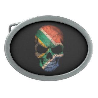 South African Flag Skull on Black Belt Buckles