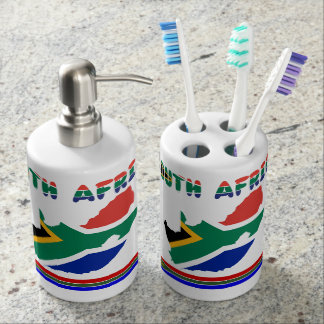 South African flag Soap Dispenser And Toothbrush Holder