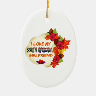 South African Girlfriend designs Double-Sided Oval Ceramic Christmas Ornament