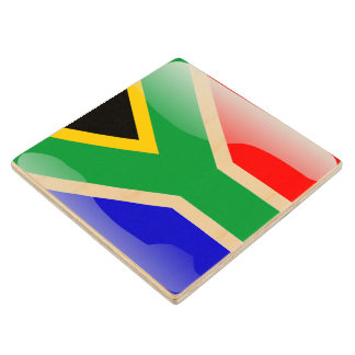 South African glossy flag Wood Coaster