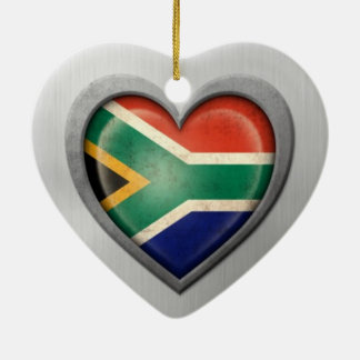 South African Heart Flag Stainless Steel Effect Ceramic Heart Decoration