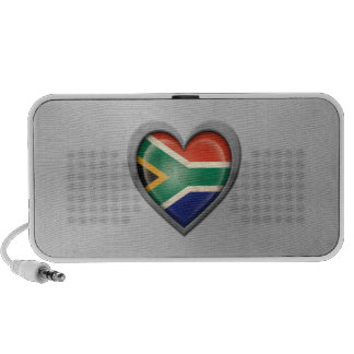 South African Heart Flag Stainless Steel Effect iPod Speakers