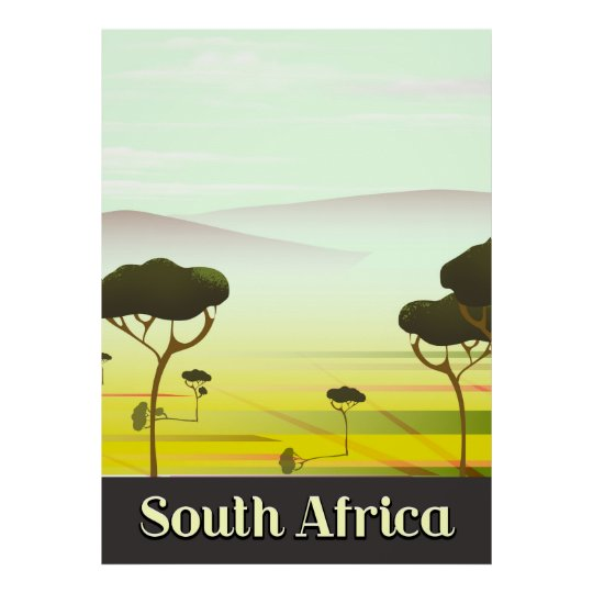 South African landscape evening travel poster