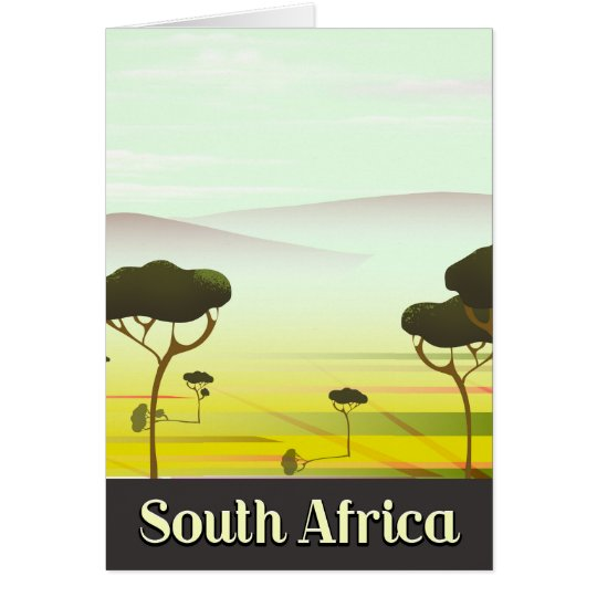 South African landscape evening travel poster Card