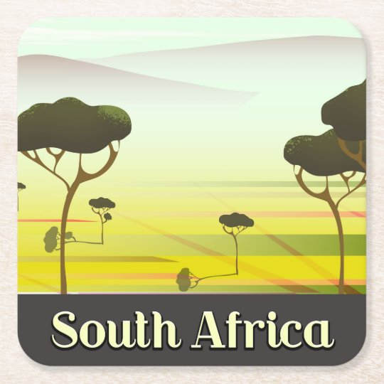 South African landscape evening travel poster Square Paper Coaster