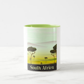 South African landscape evening travel poster Two-Tone Coffee Mug