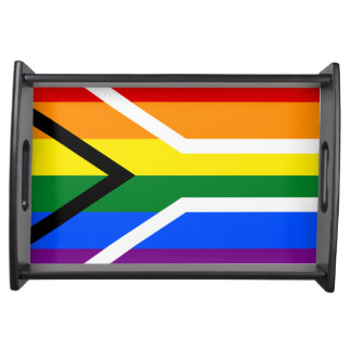 South African rainbow lgbt gay pride flag Serving Tray