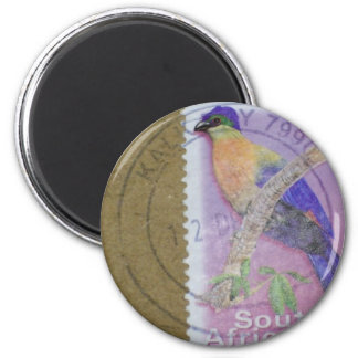 South African Stamp 6 Cm Round Magnet