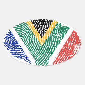 South African touch fingerprint flag Oval Sticker