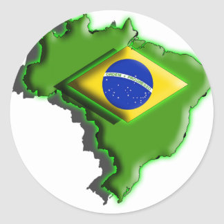 South America: Brazil (3d) Classic Round Sticker