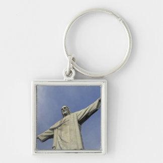 South America, Brazil, Rio de Janeiro. Christ 2 Silver-Colored Square Key Ring