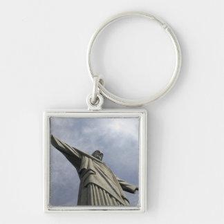 South America, Brazil, Rio de Janeiro. Christ 3 Silver-Colored Square Key Ring