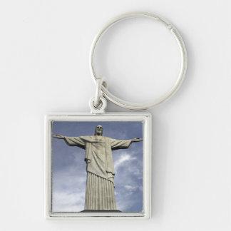 South America, Brazil, Rio de Janeiro. Christ Silver-Colored Square Key Ring