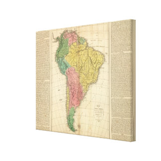 South America History Map Gallery Wrap Canvas