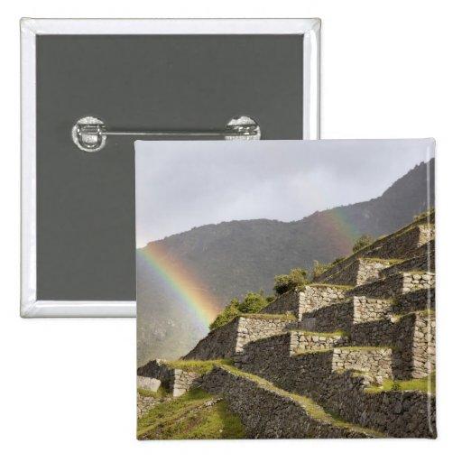 South America, Peru, Machu Picchu. Rainbows over Button