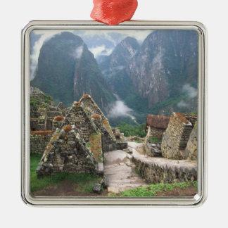 South America, Peru, Machu Picchu Silver-Colored Square Decoration