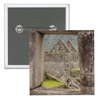 South America, Peru, Machu Picchu. Two tourists 15 Cm Square Badge