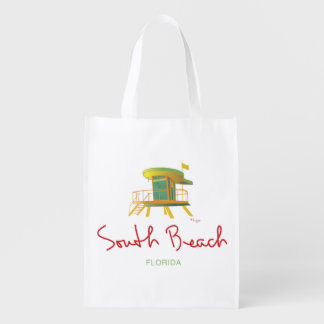 South Beach, Florida Life Guard Station Reusable Grocery Bag