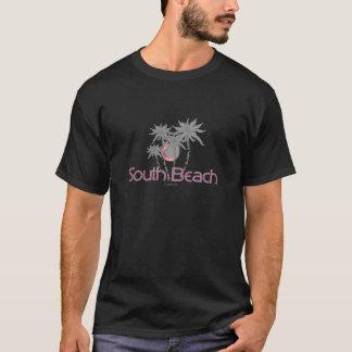 South Beach Miami Grey Palms and Sun T-Shirt